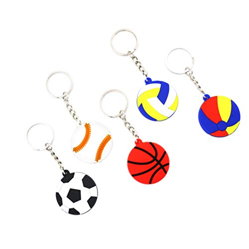 PRETYZOOM 12pcs Sports Keychains Bulk Boys Party Favors Soccer Basketball Tennis Baseball Football Party Supplies Funny Keychains Carnival Keyring School Prizes Reward