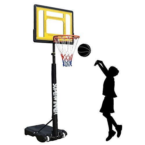 Basketballkorb Tragbarer Basketballständer mit Scheide Einstellbar 1,2-2,1 M, Poolside Mini Basketball Hoop Net System für Kinder Jungen Mädchen, 32,3 Zoll Transparentes Backboard ( Color : Yellow )