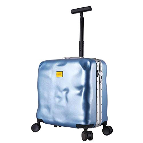 ZOUQILAI Damaged Luggage 18-inch Scratch-Resistant Trolley Case, Bump Suitcase, Lightweight Board with TSC Customs Password Lock and Noise Reduction Caster (Color : Blue)