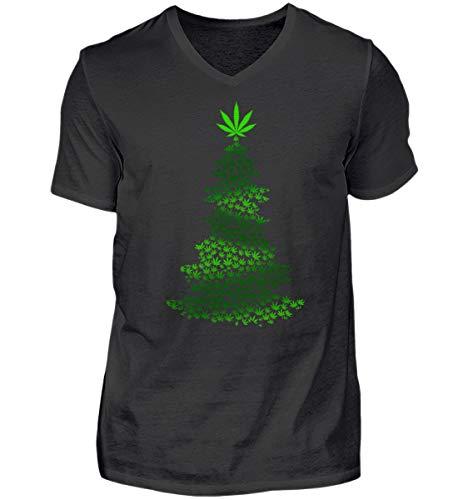Hanf Marihuana Cannabis Weihnachtsbaum Weihnachten 2018 Gras Rauchen Christmas Geschenk - Herren V-Neck Shirt