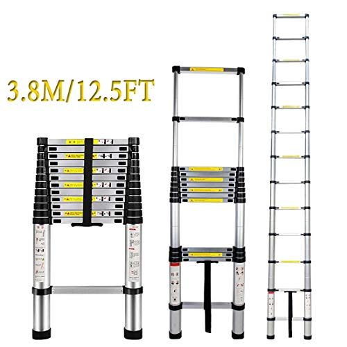 Aluminum Telescoping Ladder - ARCHOM Telescopic Extension Ladder 12.5ft Extend Ladder Multi-Purpose Portable Lightweight Folding Ladder with EN131 and CE Standard 330 Pound Capacity