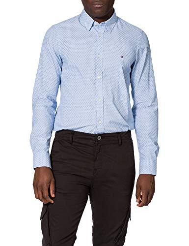 Tommy Hilfiger Slim Dotted Square Print Shirt Camisa, Azul Copenhague, S para Hombre