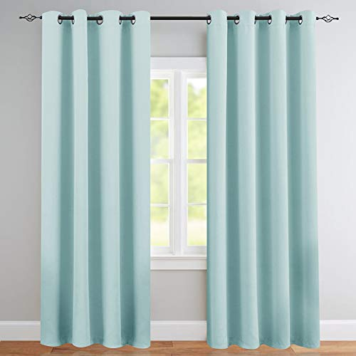 Blackout Curtains for Kids Room Darkening Window Curtain Panels for Boy's Room 84 inches Long Light Blocking Triple Weave Drapes Grommet Top Window Curtains for Bedroom, 1 Panel, Sky Blue