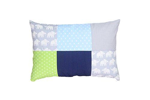 ULLENBOOM ® kussensloop voor kussens voor baby's l 40x60 cm l met ritssluiting l hoes ook geschikt voor sierkussens I olifant blauw groen