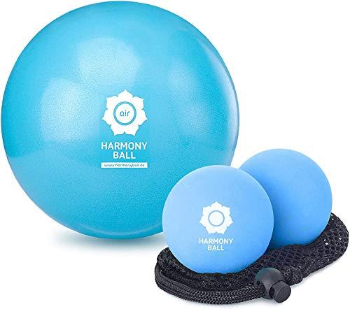 Massageball/fasciaball set - 2 flexible, natural rubber balls in net for myofascial release, anti-stress