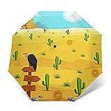 Ombrello Portatile Automatico Antivento, Ombrello Pieghevole Compatto, Folding Umbrella, Baldacchino Rinforzato, Impugnatura Ergonomica, Paesaggio del deserto occidentale del cranio