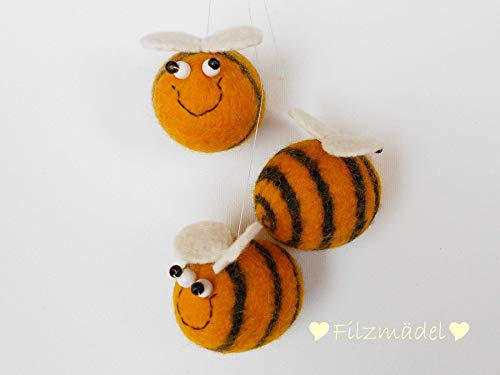 Biene SUMMSI, handgefilzt, 5-6 cm