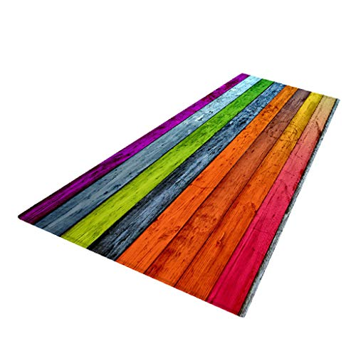 PETSOLA Küchenläufer Teppichläufer rutschfest waschbar Läufer Küchenteppich Teppich Schmutzfangmatte Eingangsmatte für Innen und außen - Orange, 60 x 180 cm