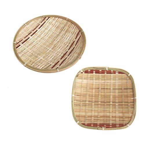Amosfun 2 st bambuvävda brickor vävning matbrickor blomsterarrangemangsbrickor ägg bröd förvaring för hembutik restaurang frukost
