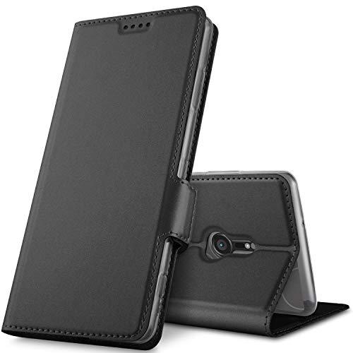 GeeMai Sony Xperia XZ3 Hülle, Premium Sony Xperia XZ3 Leder Hülle Flip Hülle Tasche Cover Hüllen mit Magnetverschluss [Standfunktion] Schutzhülle handyhüllen für Sony Xperia XZ3 Smartphone, Schwarz
