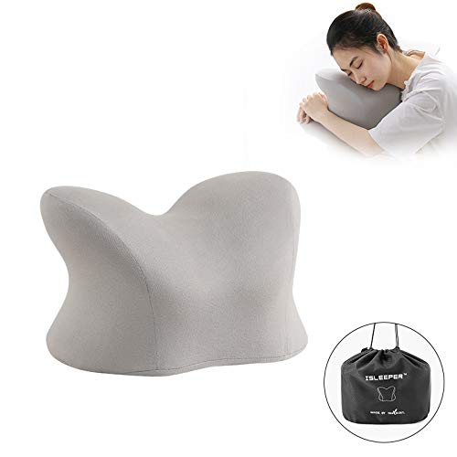 HH1 Memory Foam Travel Pillow for Neck, Chin, Lumbar and Leg Support - for Traveling on Airplane, Bus - Best for Side, Stomach and Back Sleepers(Send Storage Bag),Light Gray