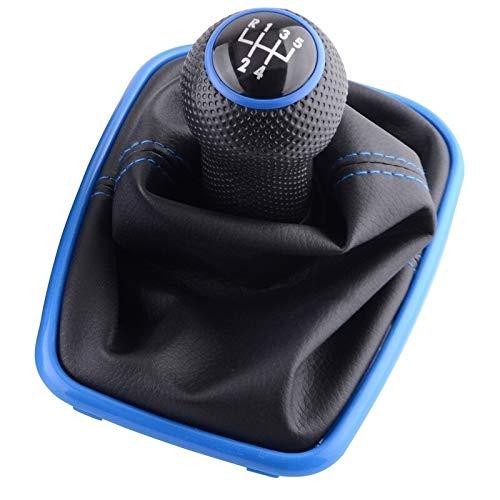 Palanca De Cambios Coche 2PC 5/6 Speed Gear Shift Knob palanca de cambio de cuero for Volkswagen VW Golf 4 2003-2008 IV MK4 GTI R32 Jetta Pomo Coche (Color Name : 5 Speed Blue)