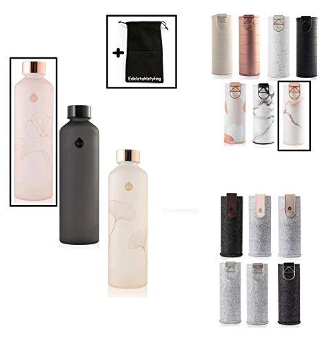Equa Mismatch Glasflasche Trinkflasche Borosilikat Glas 750 ml mit Kunstleder- oder Filzhülle + Edelstahlstyling Stoffbeutel (Bloom (Rose) mit Kunstlederhülle Lava (rot))