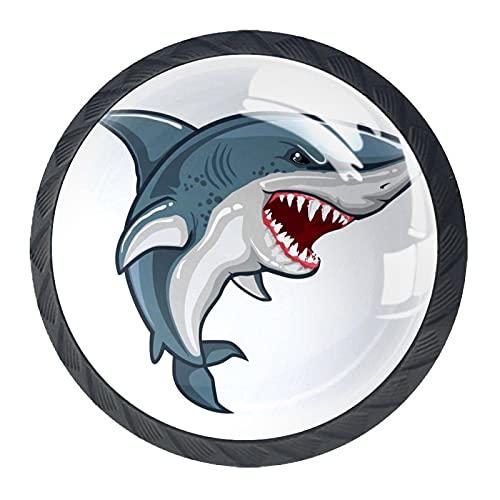 Z&Q Tirador Pomo Mueble Infantil Tiburón Animal De Pomos Tiradores para Armario/Cajón/Baño para Habitación de Infantil Decoración 4 Pcs 3.5x2.8CM