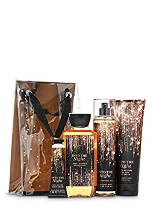 Bath and Body Works INTO THE NIGHT Gift Bag Set - Body Cream - Shower Gel - Hand Cream and Fine Fragrance Mist - Full Size