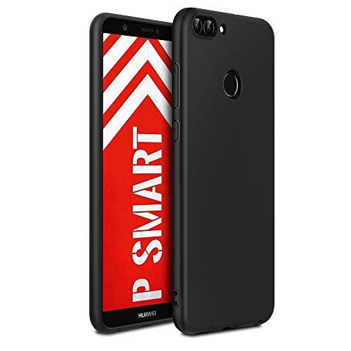 EasyAcc Huawei P Smart Hülle Case, Silikon Schwarz TPU Telefonhülle Matte Oberfläche Handyhülle Schutzhülle Schmaler Telefonschutz für das Huawei P Smart