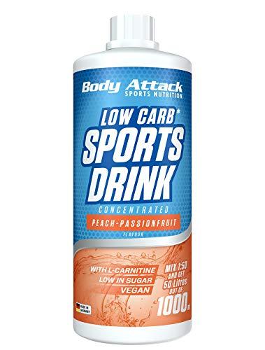 Body Attack Low Carb Sports Drink, Sportgetränkekonzentrat ergibt 50 Liter, zuckerfrei - und kalorienarm, vegan mit Carnitin & Vitaminen, Peach-Passionfruit / Pfirsich-Maracuja, (1 x 1000ml)