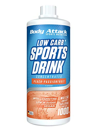 Body Attack Low Carb Sports Drink, Sportgetränkekonzentrat, Peach-Passionfruit / Pfirsich-Maracuja, (1 x 1000ml)
