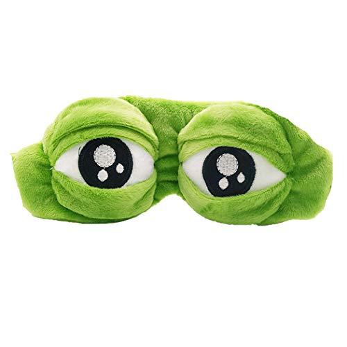 dressfan Nette Eyeshades für Schlaf Neuheit Augenmaske Kind Mädchen Damen Cartoon Augenmaske Frosch Augenmaske Für Schlaf Reise Plüsch Schlafmaske