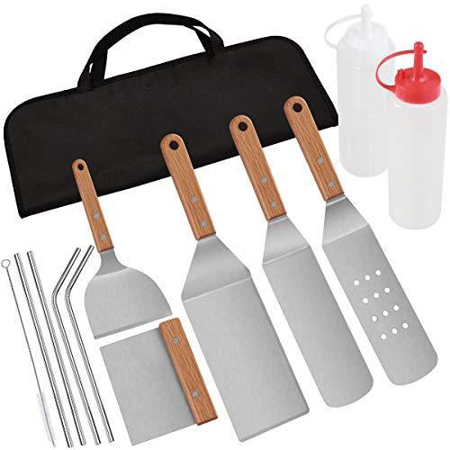 POLIGO 13 Piezas Accesorios de Barbecue Acero Inoxidable y pajitas de Metal Kit en Bolsa - Conjunto de espátula de Plancha con Mango de Madera - Ideal para cocinar en la Parrilla Camping Teppanyaki