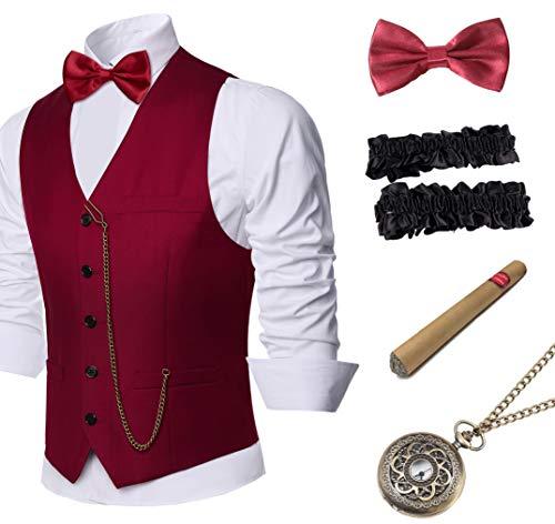 Babeyond 1920er Herren Gatsby Gangster Weste Armbänder 20er Jahre Gatsby Kostüm Zubehör Set -  -  XL