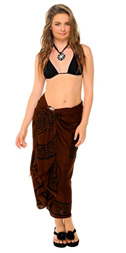 1 World Sarongs Womens Celtic Cover-Up Sarong Celtic Cross 2 in Deep Brown