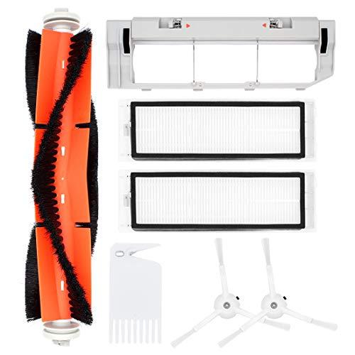 DingGreat Zubehör für Xiaomi Saugroboter, Ersatzteile für Xiaomi Roborock S55 S50 S51Saugroboter, 1 Hauptbürste + 2 Seitenbürste + 2 Filters + 1 Hauptbürstenabdeckung + 1 Reinigungsbürste