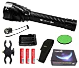 Linterna Trustfire J18 7 Led CREE XML-T6-4200 mAh ultrafire - 8500lm / 1 Modo / 3 baterías. Aguardos, vigilancia, caza, linterna de gran alcance (C - Linterna Kit completo)