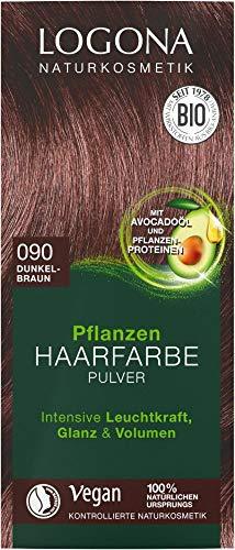 Logona Bio Pflanzen Haarfarbe Pulver 090 dunkelbraun (6 x 100 gr)