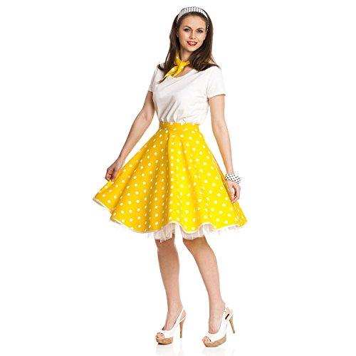 Kostümplanet® Rockabilly Rock-n Roll Rock Damen Kostüm 50-er Jahre Stil Mode Outfit gelb weiß Gepunkteter Tellerrock Polka-dot Faschingskostüm mit Halstuch