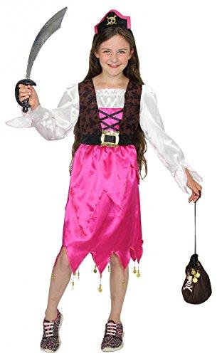 Foxxeo 40220I pinkes Piraten Kostüm für Mädchen Piratenkostüm Piratenmädchen Fasching Karneval Kostüm Piratin Pink Mädchenkostüm Gr. 86 - 140, Größe:86/92