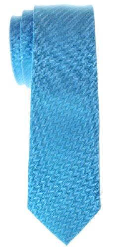 Retreez Cravate Fine Slim micro tissée à rayures en épi pour homme - Bleu clair