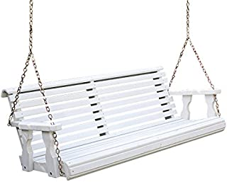 Amish Heavy Duty 800 Lb Roll Back Treated Porch Swing with Hanging Chains (4 Foot, Semi-Solid White Stain)