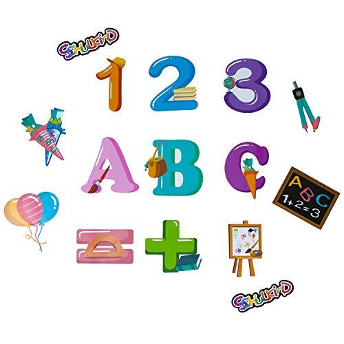 Oblique Unique® Konfetti 15 Stk. Schuleinführung Einschulung Schulanfang Tisch Dekoration Streu Deko Zahlen Tafel Ballons Zuckertüte Jungen Mädchen
