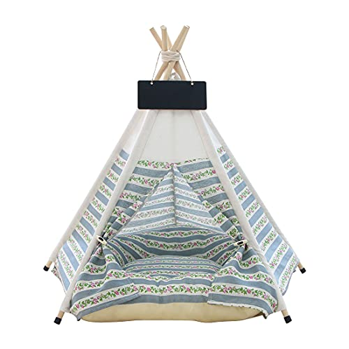 Vinnykud Pets Teepee Dogs Tent Cotton Linen Dog Tent Pet Tent Dog Bed Cat Tipi Dogs Kennels Removable and Washable Cats Tents Dog/Cat Bed Play House With Cushion 40x40x50cm