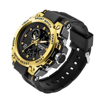 SANDA Herrenuhr Digital Analog Sportuhren Backlight Mann Armbanduhr Männlich mit Alarm Stoppuhr Kalender Chronograph Armbanduhr (schwarzes Gold)