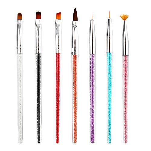 Nagel Pinsel Set 7stücke Punktierung Stift Acryl Nagelbürsten UV Gel 3D Nail Art Design Malerei Zeichnung Liner Pen Set mit Acryl Strass Griff Schöne Nagel Werkzeuge