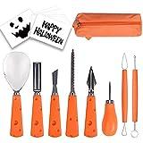 LoiStu Kit de Talla de Calabaza de Halloween 8 Piezas, Herramienta Profesional para tallar de Acero Inoxidable Adecuada para niños y Adultos, con Bolsa de Almacenamiento y 10 Pegatinas para tallar
