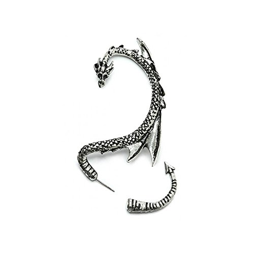 Serebra Jewelry Dragón Pendientes manguito de oreja con tonos plateados