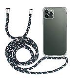 MyGadget Funda Transparente con Cordón para Apple iPhone 11 Pro - Carcasa Cuerda y Esquinas Reforzadas en Silicona TPU - Case y Correa - Negro Camuflaje