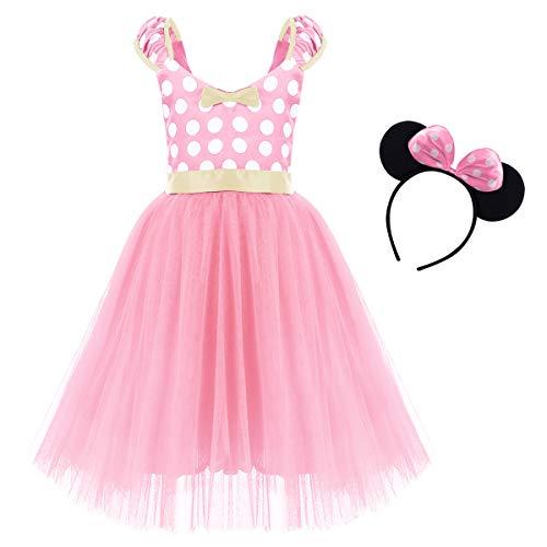 IWEMEK Princesa Disfraz de Minnie para Bebé Niña Navidad de los Lunares del Vestido del Tutú de Tul Cumpleaños Fantasía Infantiles Vestido Carnaval Bautizo Ballet Baile con Diadema 1-7 Años