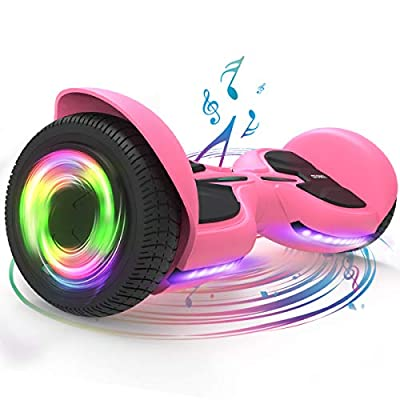 TOMOLOO Hoverboards for Girls, Pink Hoverboard with Bluetooth and Lights of Music Rhythmed, Solid Rubber Tires Hover Board with UL2272 Certified, 6.5 Inch Two-Wheel Hoverboard for Adults and Kids