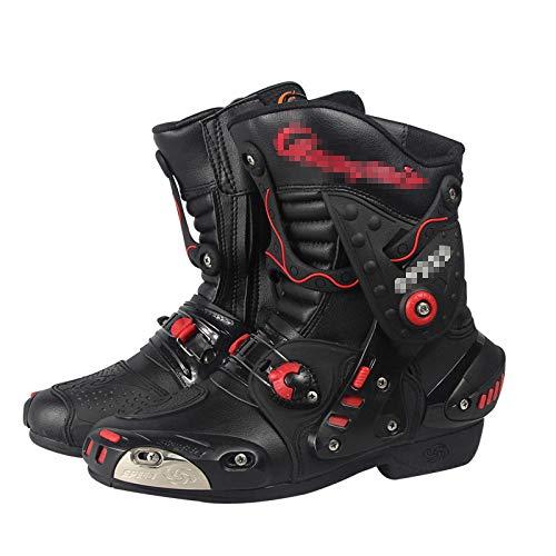 ZOULME Hombres y Mujeres en Carreras de Carreras Botas de Moto Impermeable Motocicleta Botas de Cuero largas blindadas Touring Sport Touring Zapatos-Negro_41