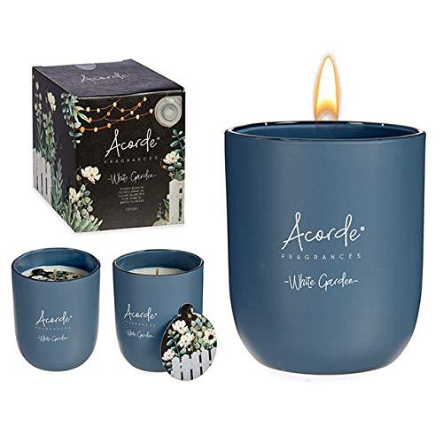 2 velas de flores blancas perfumadas de cera natural de perfume premium Made in France Perfume de larga duración para oficina de condominio Regalo dulce y delicado regalo gran decoración del jarrón