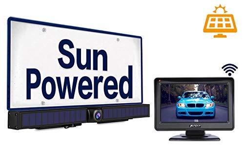5200mAh Solar Wireless Backup Camera Kit with Monitor, IP67 Waterproof Night Vision Rear View Camera for Cars SUVs backup Cameras Vehicle