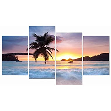 Pyradecor Sunrise Beach Theme Canvas Prints Wall Art Ocean Sea Pictures Paintings for Living Room Bedroom Home Office Decorations Modern 4 Piece Stretched and Framed Seascape Giclee Artwork