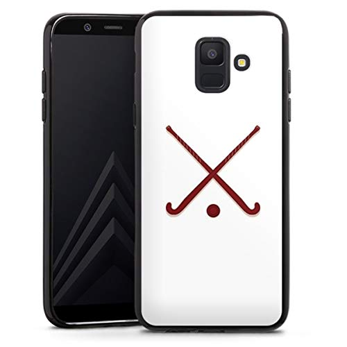 DeinDesign Silikon Hülle kompatibel mit Samsung Galaxy A6 (2018) Case schwarz Handyhülle Hockey Hobby Sport