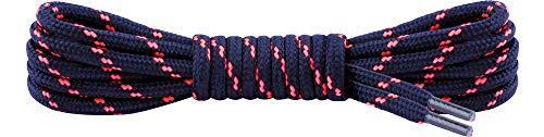 Ladeheid Qualitäts-Schnürsenkel LAKO1003, Elastische Rundsenkel für Arbeitsschuhe und Trekkingschuhe aus 100% Polyester, ø ca. 5 mm Breit, 25 Farben, 60-220 cm Länge (Navy/Neon Rosa, 90 cm/ø 5 mm)
