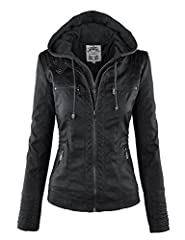 Faux leather jacket featuring a removal knit hood and front panel with exposed zipper Pintucks details on shoulder, waist and sleeve Double snap collar / Metal exposed front zipper placket and pockets / Fully lined HAND WASH COLD / HANG TO DRY / DO N...