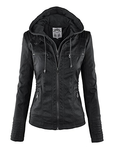 Made By Johnny MBJ WJC663 Womens Removable Hoodie Motorcyle Jacket L Black
